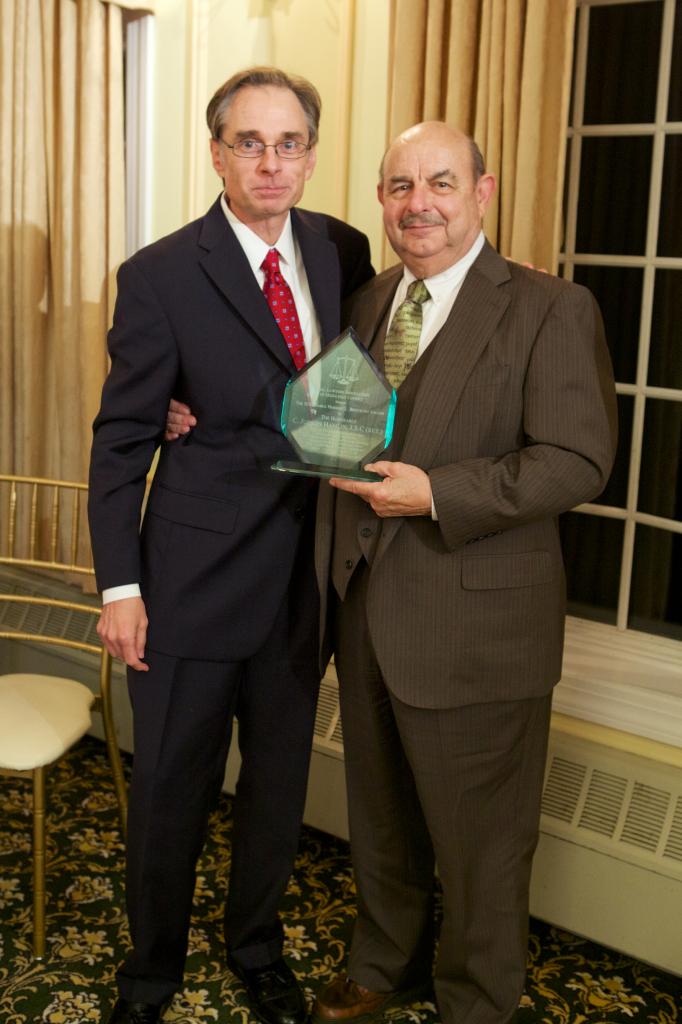 John Harding, 2013-2014 President, Presenting 2014 Breitkopf Award to C. Judson Hamlin, J.S.C. Ret.